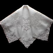 1920s Italian Work Linen Tea Tablecloth Vintage Hand Embroidery