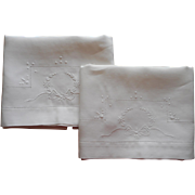 Linen Pillowcases ca 1920 Hand Embroidered Bows Garlands White Work Embroidery