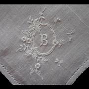 Monogram B Antique Hankie Handkerchief 1910s Linen