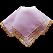 1920s Hankie Tatted Lace Purple Linen Vintage Unused