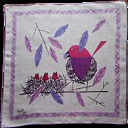 Signed Kati Vintage 1950s Printed Linen Hankie Birds Nest Purple