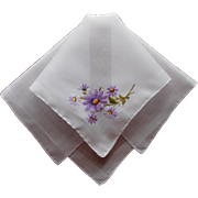 Vintage Hankie Hand Embroidered Purple Daisy Flowers Handkerchief