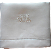 Antique Pillowcase Pure Linen Monogram J.M.K Imperfect