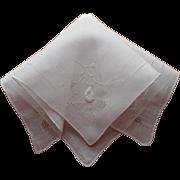 Vintage Hankie Linen Fine Drawn Work Applique Hand Embroidery Simple