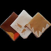 Vintage Hankies Hankie 1930s Linen Appliqued Shades Of Brown