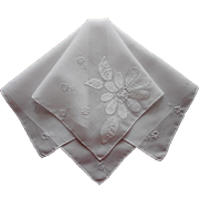 Madeira Hankie Vintage 1960s Appliqued Hand Embroidered All White