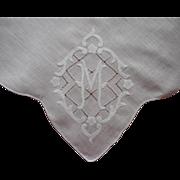 Monogram M Vintage Madeira Hankie Appliqued Linen Handkerchief