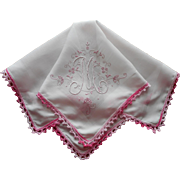 Monogram M Vintage Hankie Pink White Madeira Added Trim TLC