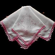 Monogram M Vintage Hankie Pink White Madeira Added Trim TLC