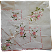 Vintage Hankies Hankie Pink Flowers Embroidery Unused Desco