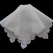 Vintage Hankie Linen Drawn Work Hand Embroidery All White Handkerchief