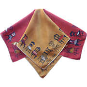 Tammis Keefe Silk Hankie Scarf Vintage 1950s Handkerchief TLC