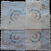 Vintage Hankie Unused Swiss Hand Embroidered Burmel Label
