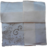 Monogram E Madeira Hankie Vintage Linen Unused Gray Hand Embroidery