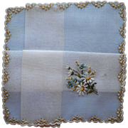 Vintage Hankie Unused Fine Swiss Hand Embroidery Blue Yellow Daisies