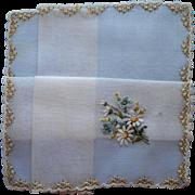 Vintage Hankie Unused Fine Swiss Hand Embroidery Blue Yellow Daisies