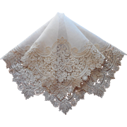 Duchesse Lace Antique Hankie Handkerchief Handmade Unused Bridal Wedding