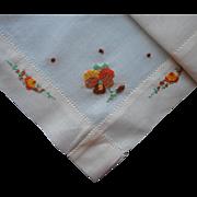 Vintage Hankie Pansies Hand Embroidery Orange Brown