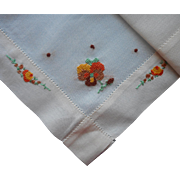 Vintage Hankie Pansies Hand Embroidery Orange Brown