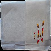 Monogram M or W Vintage 1930s Hankie Unused Hand Embroidered
