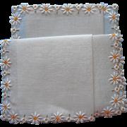 Vintage Hankie Daisies Embroidery Fine Linen Swiss Label Unused