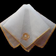 Monogram W Antique Hankie Handkerchief Unused