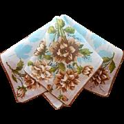 Vintage Hankie Linen Print Printed Turquoise Maple Leaves Brown Dahlias