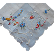 Vintage Hankie Fine Delicate Swiss Unused Label Embroidered