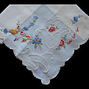 Vintage Hankie Fine Delicate Swiss Unused Label Embroidered