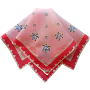 Vintage Hankie Burmel Handkerchief Of The Month Cotton Print Pink