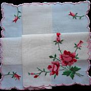 Vintage Hankie Pink Red Embroidered Roses Swiss Unused