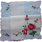 Vintage Hankie Pink Red Embroidered Roses Swiss Unused