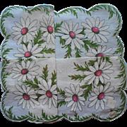 Vintage Hankie Unused Burmel Label Print Daisies Printed Cotton