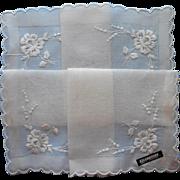 Vintage Hankie All White Unused Celebritees Label Swiss Embroidered