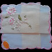 Vintage Hankie Peonies Lily Of The Valley Embroidery Unused Swiss