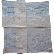 Vintage Hankie Linen Fine Drawnwork Grids Embroidered Dots Unused Label