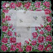 Vintage Hankie Unused Print Cotton Burmel Label Pink Roses