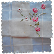 Vintage Hankie Hand Embroidery Unused Swiss Pink Flowers Sweet