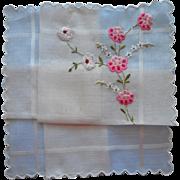 Vintage Hankie Hand Embroidery Unused Swiss Pink Flowers Sweet