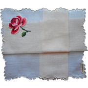 Vintage Hankie Handkerchief Rose Hand Embroidered Unused Swiss Label