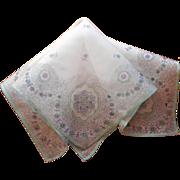 Antique Silk Hankie Handkerchief Aqua Purple Print