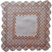 Antique Bobbin Lace Handkerchief Hankie Handmade Unused