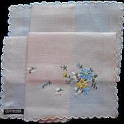 Vintage Hankie Unused Peach Swiss Hand Embroidery Celebritees Label