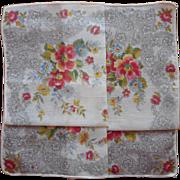 Vintage Hankie Unused Print Floral Black Lace Printed Semi Sheer Cotton