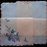 Vintage Hankie Unused Swiss Peach Cotton Hand Embroidery Blue Violets