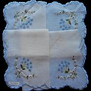 Vintage Hankie Unused Swiss Embroidery Blue White Flowers Original Label