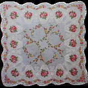 Vintage Hankie Sky Blue Pink Roses Print Unused Printed Cotton
