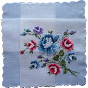 Vintage Hankie Unused Swiss Hand Embroidered Blue Pink Purple Roses