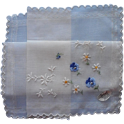 Vintage Hankie Unused Swiss Burmel Label Hand Embroidered Blue Pansies