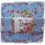 Vintage Hankie Print Cotton Unused w Label Sky Blue Pink Green White
